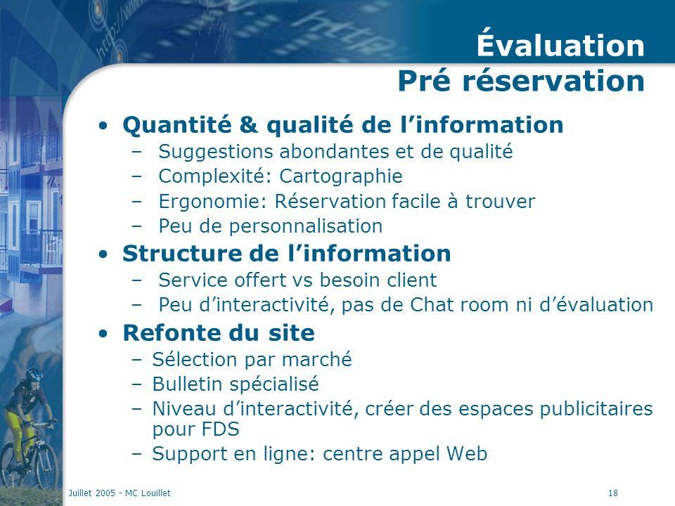 Juillet 2005 - MC Louillet18 Évaluation Pré réservation Quantité & qualité de linformation – Suggestions abondantes et de qualité – Complexité: Cartog
