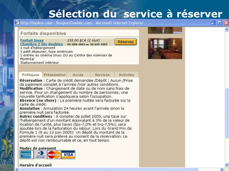 Juillet 2005 - MC Louillet19 Sélection du service à réserver