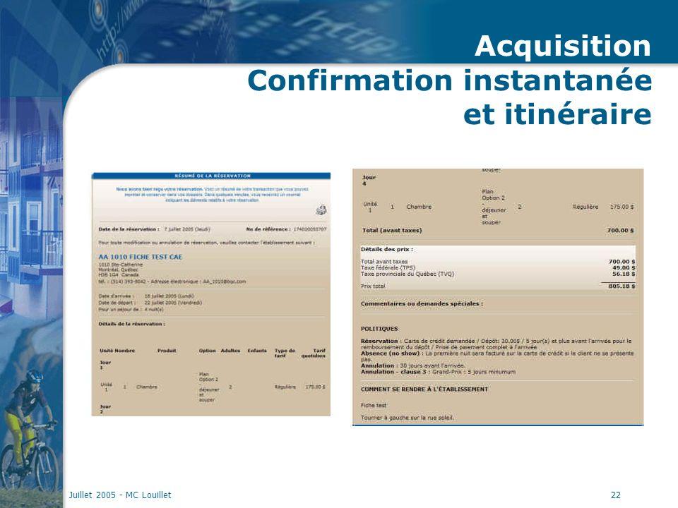 Juillet 2005 - MC Louillet22 Acquisition Confirmation instantanée et itinéraire