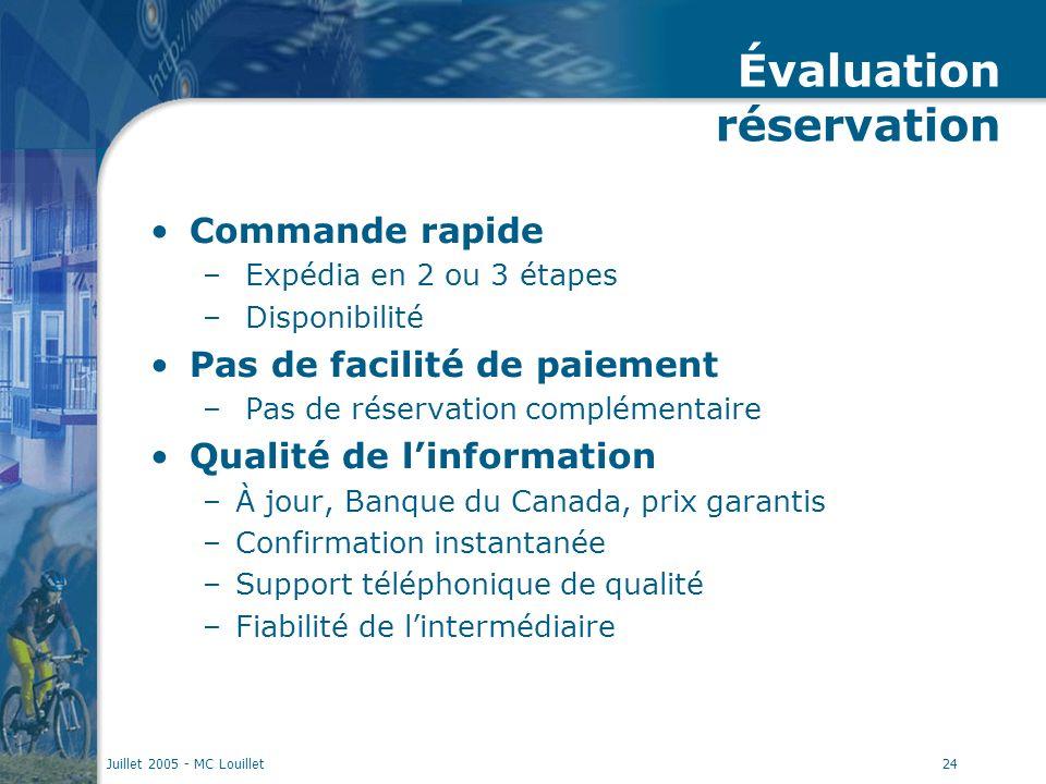 Juillet 2005 - MC Louillet24 Évaluation réservation Commande rapide – Expédia en 2 ou 3 étapes – Disponibilité Pas de facilité de paiement – Pas de ré