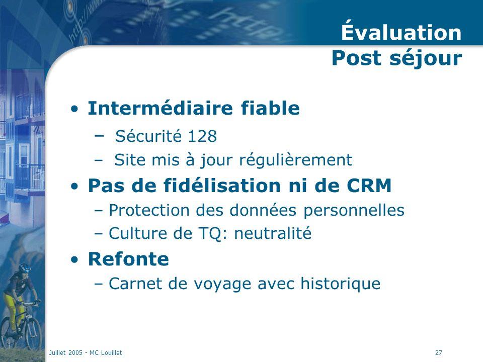 Juillet 2005 - MC Louillet27 Évaluation Post séjour Intermédiaire fiable – Sécurité 128 – Site mis à jour régulièrement Pas de fidélisation ni de CRM