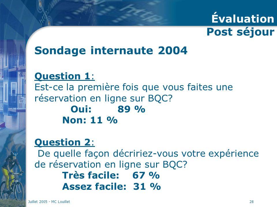 Juillet 2005 - MC Louillet28 Sondage internaute 2004 Question 1: Est-ce la première fois que vous faites une réservation en ligne sur BQC? Oui:89 % No