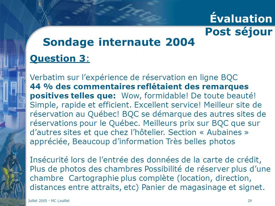 Juillet 2005 - MC Louillet29 Sondage internaute 2004 Question 3: Verbatim sur lexpérience de réservation en ligne BQC 44 % des commentaires reflétaient des remarques positives telles que: Wow, formidable.