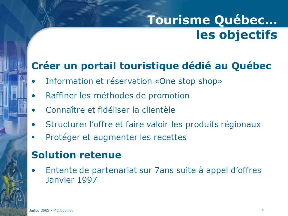 Juillet 2005 - MC Louillet4 Tourisme Québec… les objectifs Créer un portail touristique dédié au Québec Information et réservation «One stop shop» Raf
