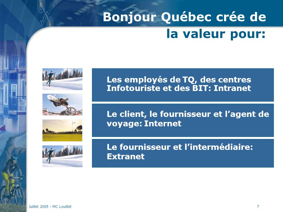 Juillet 2005 - MC Louillet7 Bonjour Québec crée de la valeur pour: Le client, le fournisseur et lagent de voyage: Internet Le fournisseur et lintermédiaire: Extranet Les employés de TQ, des centres Infotouriste et des BIT: Intranet