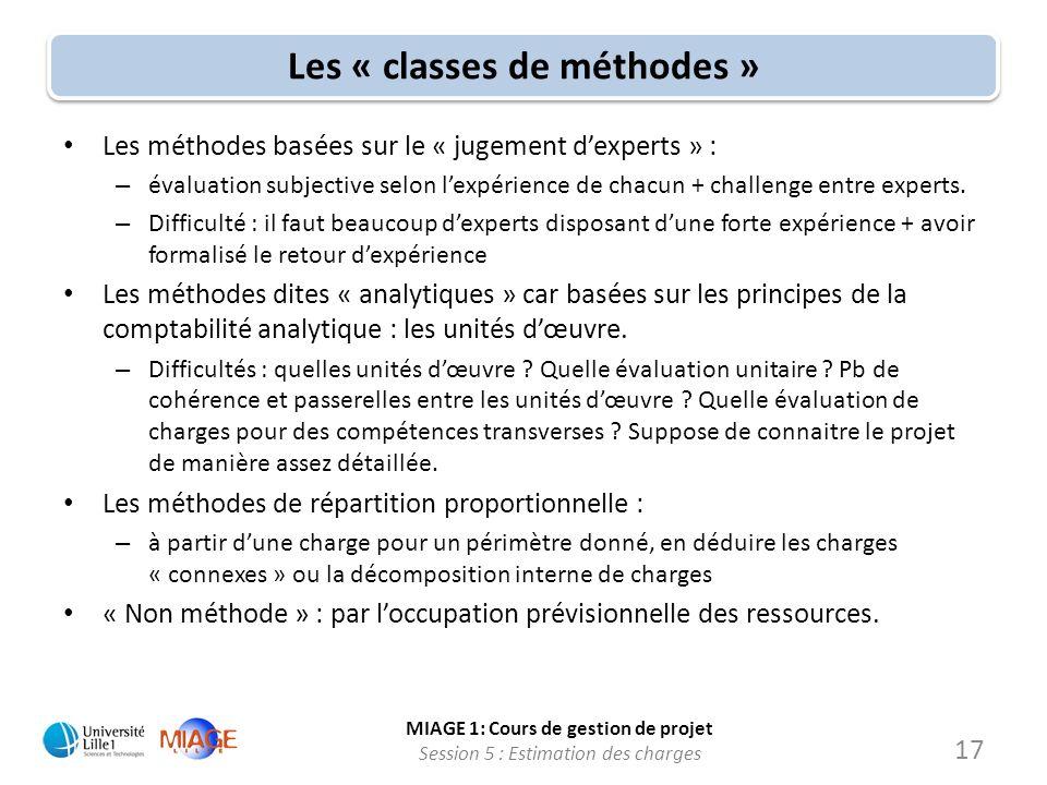MIAGE 1: Cours de gestion de projet Session 5 : Estimation des charges 17 Les « classes de méthodes » Les méthodes basées sur le « jugement dexperts »