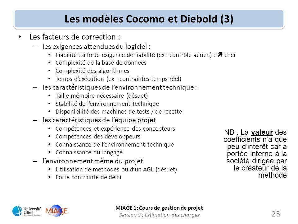 MIAGE 1: Cours de gestion de projet Session 5 : Estimation des charges 25 Les modèles Cocomo et Diebold (3) Les facteurs de correction : – les exigenc