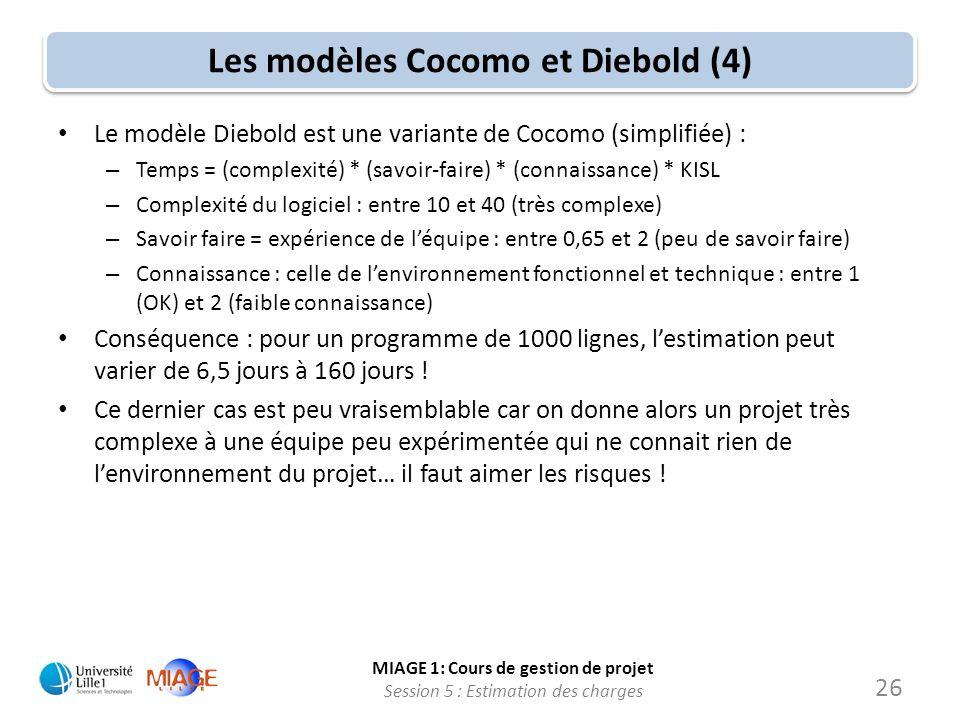 MIAGE 1: Cours de gestion de projet Session 5 : Estimation des charges 26 Les modèles Cocomo et Diebold (4) Le modèle Diebold est une variante de Coco