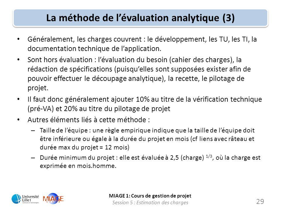 MIAGE 1: Cours de gestion de projet Session 5 : Estimation des charges 29 La méthode de lévaluation analytique (3) Généralement, les charges couvrent