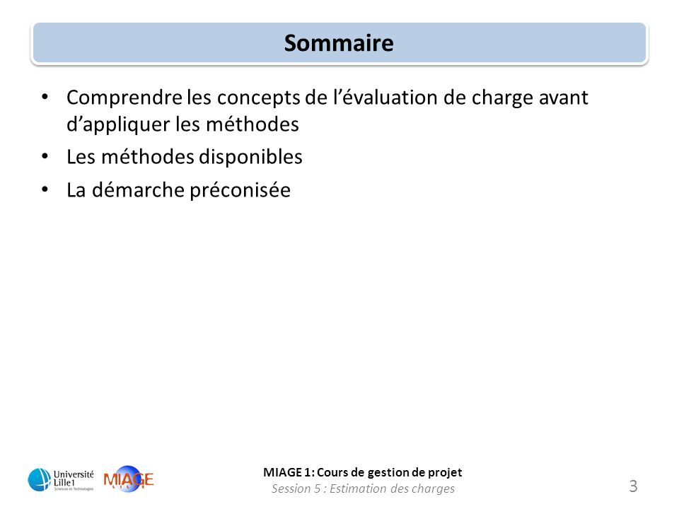 MIAGE 1: Cours de gestion de projet Session 5 : Estimation des charges 14 Les dangers dune mauvaise évaluation Charge 200 120 100 70 0 Soit une charge de projet évaluée à 100 j.h Charge « réelle » du projet.