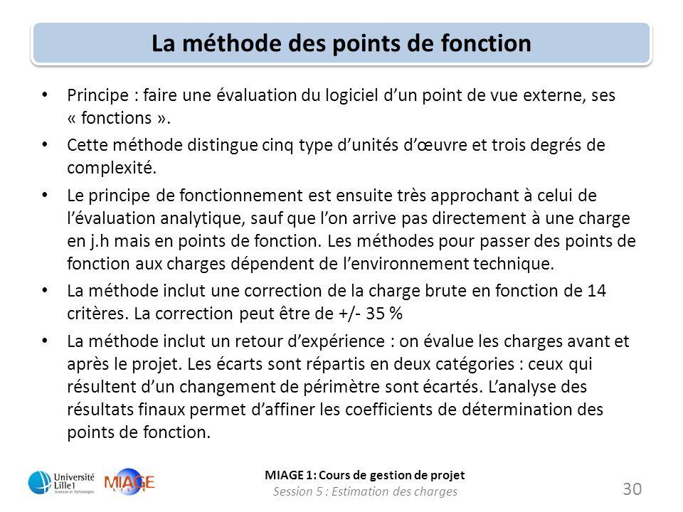 MIAGE 1: Cours de gestion de projet Session 5 : Estimation des charges 30 La méthode des points de fonction Principe : faire une évaluation du logicie