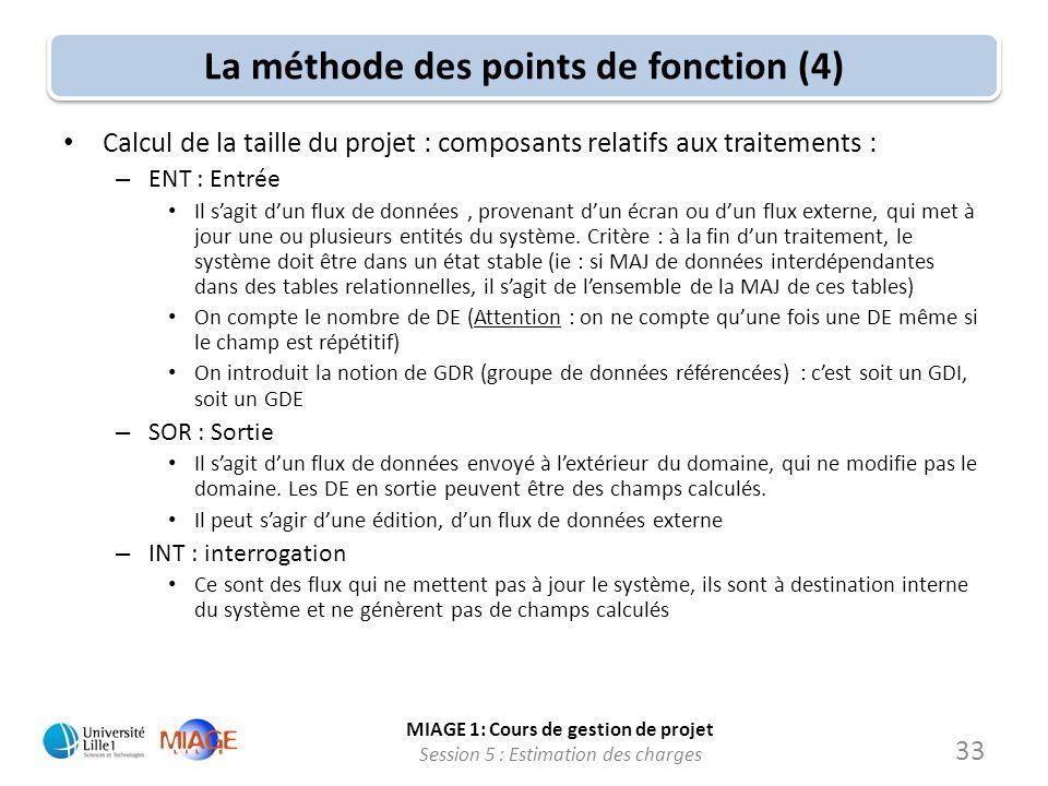 MIAGE 1: Cours de gestion de projet Session 5 : Estimation des charges 33 La méthode des points de fonction (4) Calcul de la taille du projet : compos