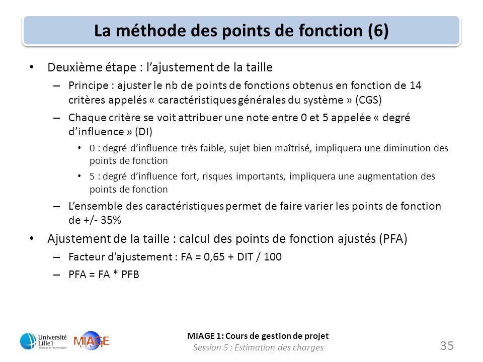 MIAGE 1: Cours de gestion de projet Session 5 : Estimation des charges 35 La méthode des points de fonction (6) Deuxième étape : lajustement de la tai