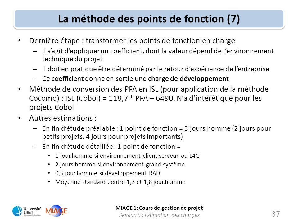 MIAGE 1: Cours de gestion de projet Session 5 : Estimation des charges 37 La méthode des points de fonction (7) Dernière étape : transformer les point