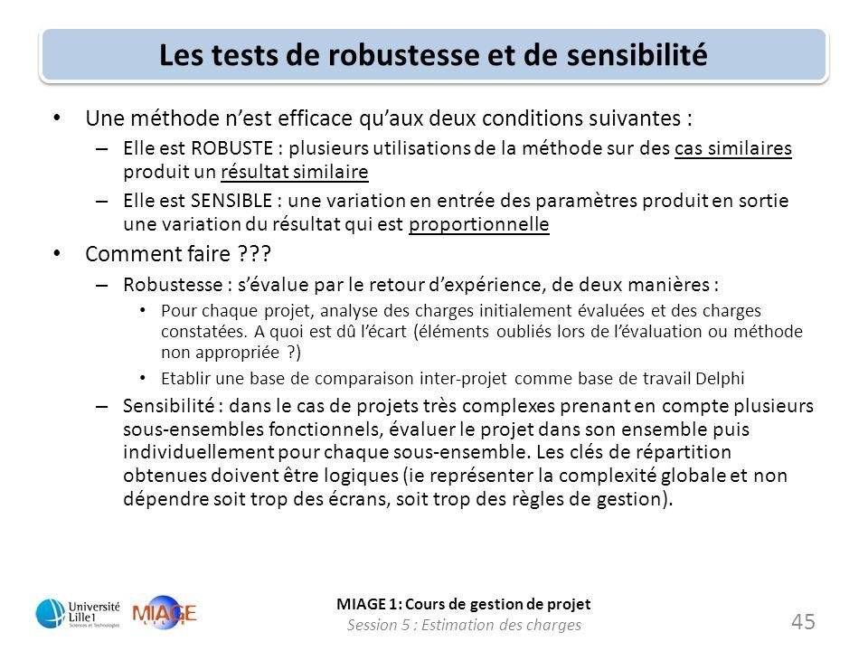 MIAGE 1: Cours de gestion de projet Session 5 : Estimation des charges 45 Les tests de robustesse et de sensibilité Une méthode nest efficace quaux de
