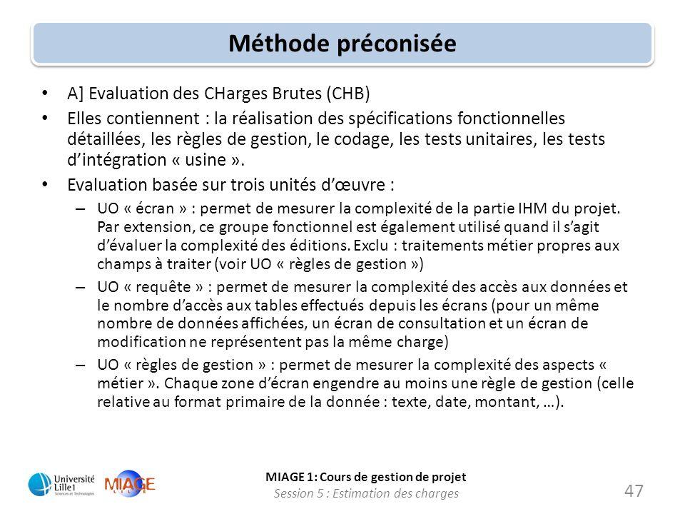 MIAGE 1: Cours de gestion de projet Session 5 : Estimation des charges 47 Méthode préconisée A] Evaluation des CHarges Brutes (CHB) Elles contiennent