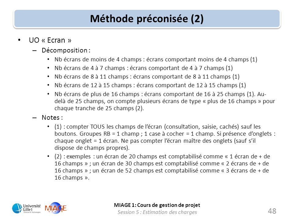 MIAGE 1: Cours de gestion de projet Session 5 : Estimation des charges 48 Méthode préconisée (2) UO « Ecran » – Décomposition : Nb écrans de moins de