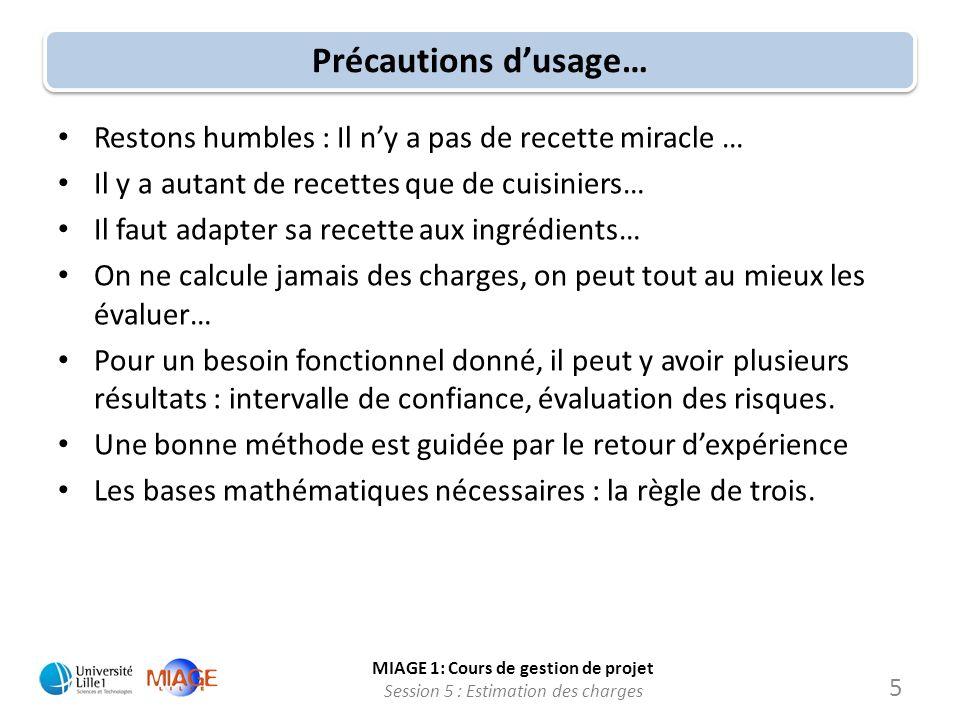 MIAGE 1: Cours de gestion de projet Session 5 : Estimation des charges 5 Précautions dusage… Restons humbles : Il ny a pas de recette miracle … Il y a