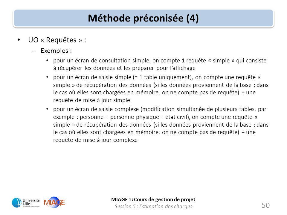 MIAGE 1: Cours de gestion de projet Session 5 : Estimation des charges 50 Méthode préconisée (4) UO « Requêtes » : – Exemples : pour un écran de consu