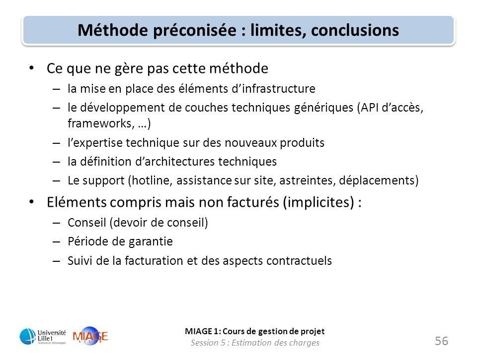MIAGE 1: Cours de gestion de projet Session 5 : Estimation des charges 56 Méthode préconisée : limites, conclusions Ce que ne gère pas cette méthode –