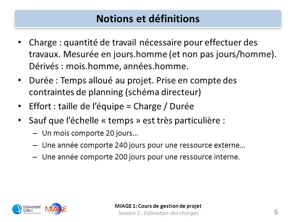 MIAGE 1: Cours de gestion de projet Session 5 : Estimation des charges Prochaines sessions Session 7 : Gestion des ressources dun projet Session 8 : Suivi dun projet TP2 : Suivi pratique dun projet (L.