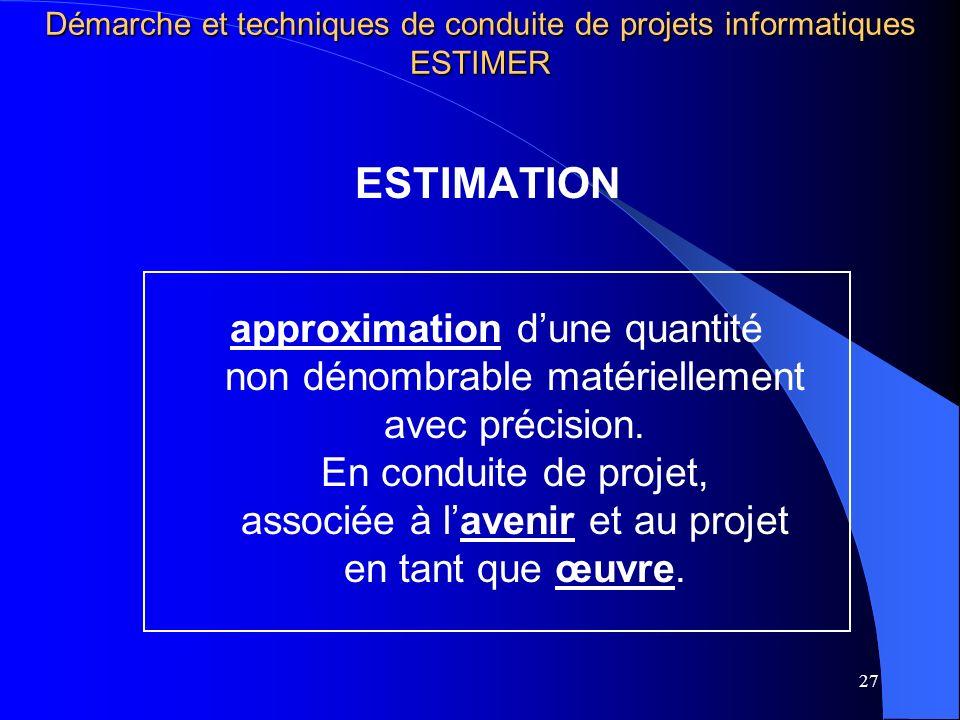 27 ESTIMATION approximation dune quantité non dénombrable matériellement avec précision. En conduite de projet, associée à lavenir et au projet en tan