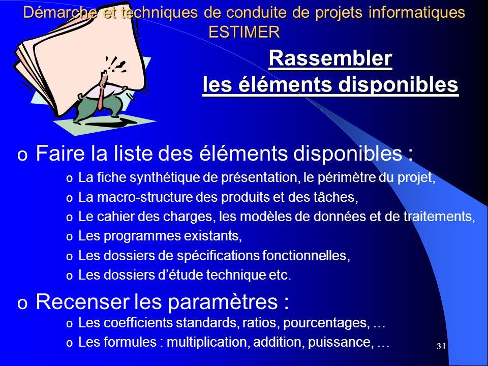 31 o Faire la liste des éléments disponibles : o La fiche synthétique de présentation, le périmètre du projet, o La macro-structure des produits et de