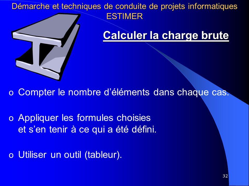 32 o Compter le nombre déléments dans chaque cas. o Appliquer les formules choisies et sen tenir à ce qui a été défini. o Utiliser un outil (tableur).