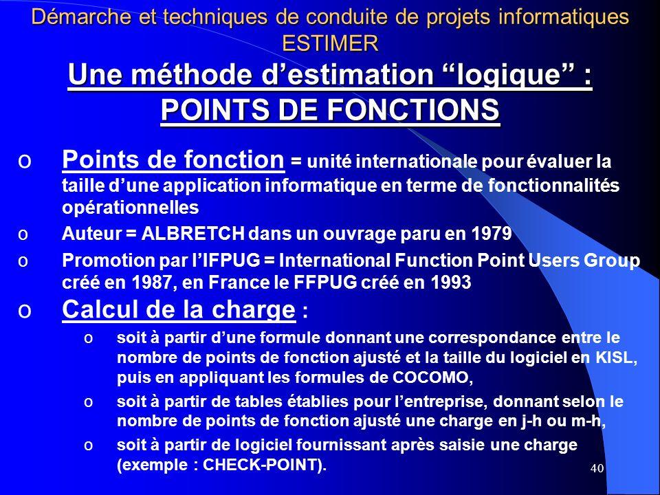 40 Une méthode destimation logique : POINTS DE FONCTIONS oPoints de fonction = unité internationale pour évaluer la taille dune application informatique en terme de fonctionnalités opérationnelles oAuteur = ALBRETCH dans un ouvrage paru en 1979 oPromotion par lIFPUG = International Function Point Users Group créé en 1987, en France le FFPUG créé en 1993 oCalcul de la charge : osoit à partir dune formule donnant une correspondance entre le nombre de points de fonction ajusté et la taille du logiciel en KISL, puis en appliquant les formules de COCOMO, osoit à partir de tables établies pour lentreprise, donnant selon le nombre de points de fonction ajusté une charge en j-h ou m-h, osoit à partir de logiciel fournissant après saisie une charge (exemple : CHECK-POINT).