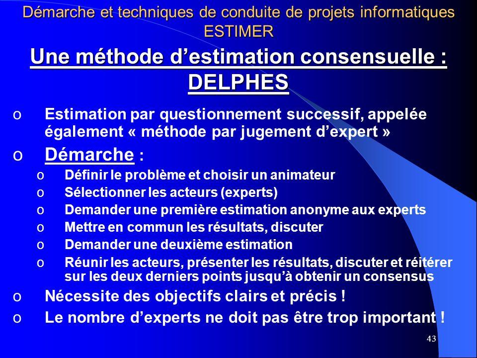 43 Une méthode destimation consensuelle : DELPHES oEstimation par questionnement successif, appelée également « méthode par jugement dexpert » oDémarc
