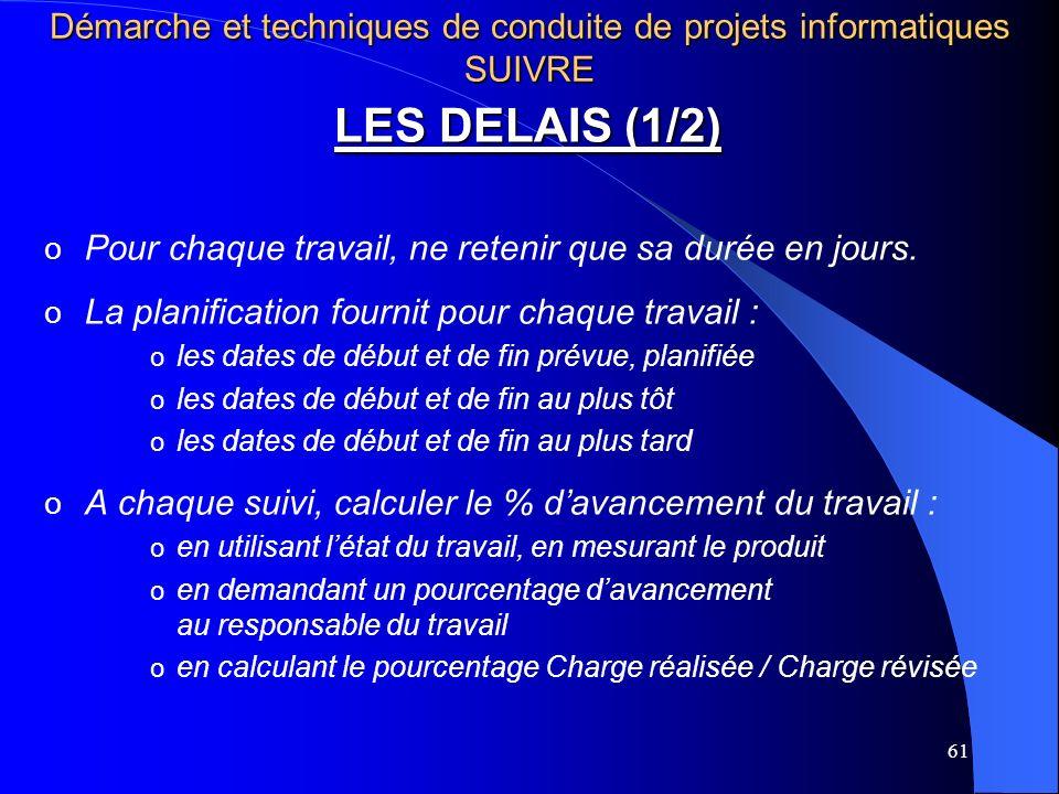 61 LES DELAIS (1/2) o Pour chaque travail, ne retenir que sa durée en jours. o La planification fournit pour chaque travail : o les dates de début et