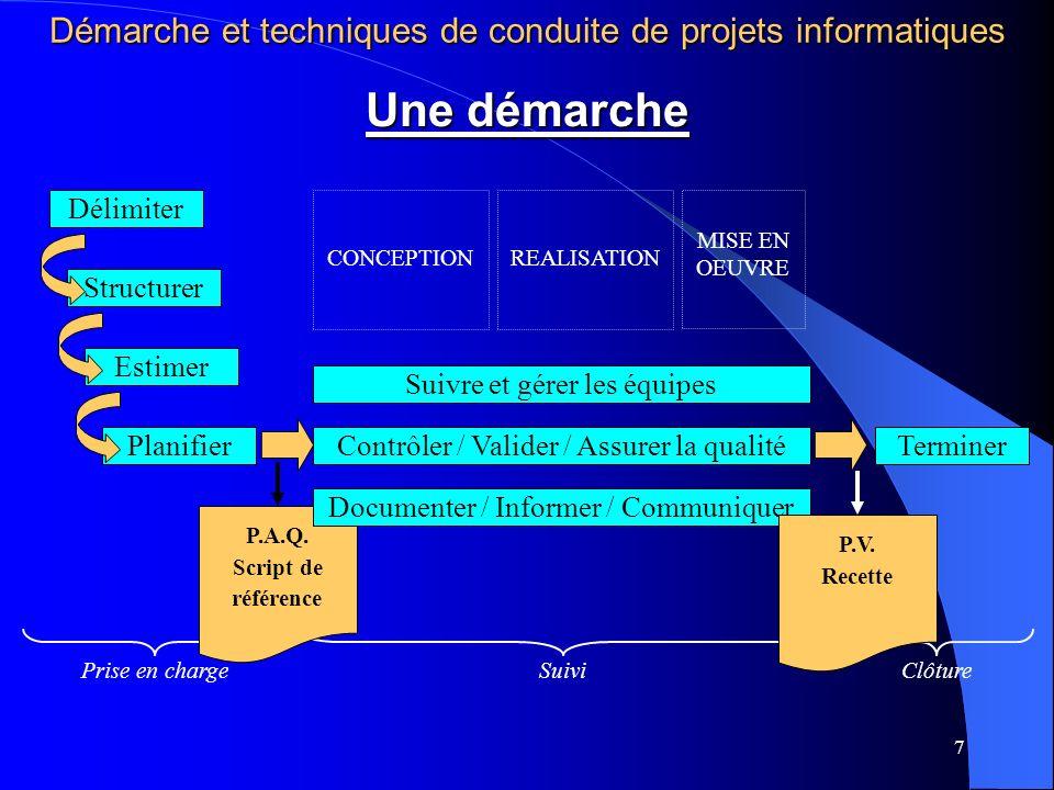 7 Prise en chargeSuiviClôture P.A.Q. Script de référence Délimiter StructurerEstimer Suivre et gérer les équipes Contrôler / Valider / Assurer la qual