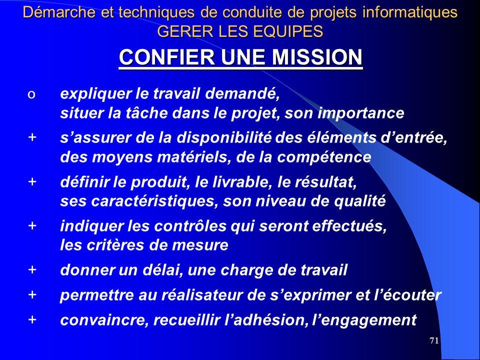 71 CONFIER UNE MISSION o expliquer le travail demandé, situer la tâche dans le projet, son importance +sassurer de la disponibilité des éléments dentr