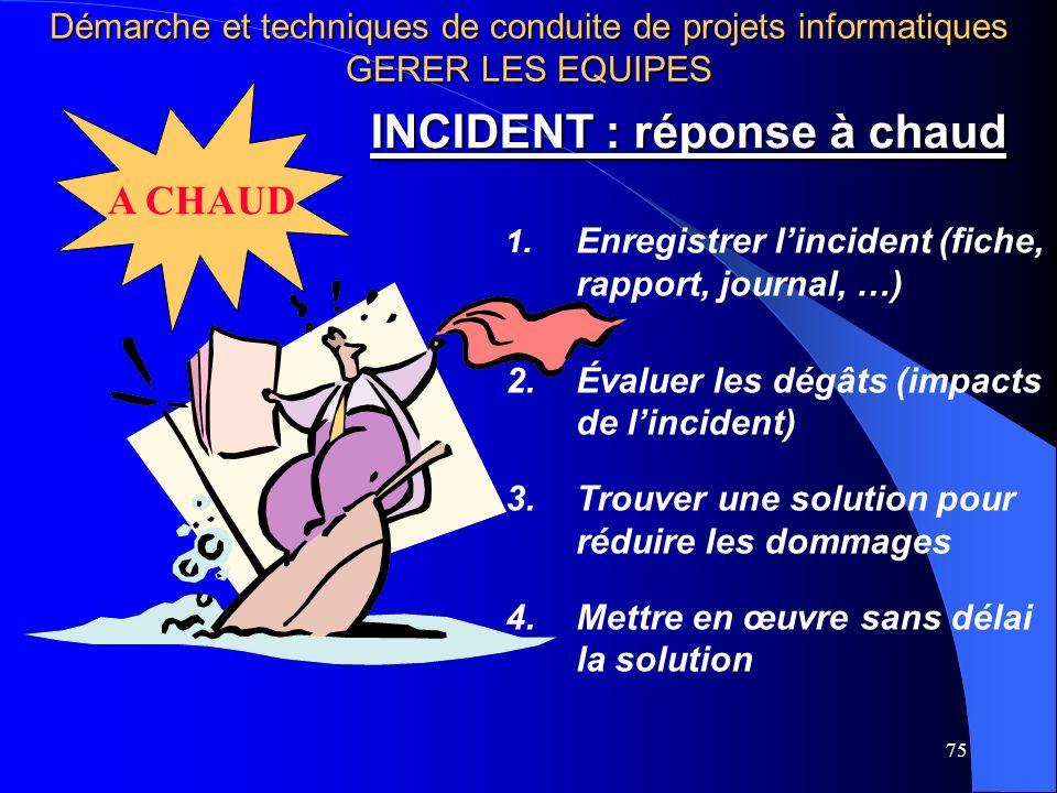 75 INCIDENT : réponse à chaud 1. Enregistrer lincident (fiche, rapport, journal, …) 2.Évaluer les dégâts (impacts de lincident) 3.Trouver une solution