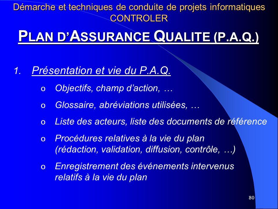 80 P LAN D A SSURANCE Q UALITE (P.A.Q.) 1. Présentation et vie du P.A.Q. o Objectifs, champ daction, … o Glossaire, abréviations utilisées, … o Liste