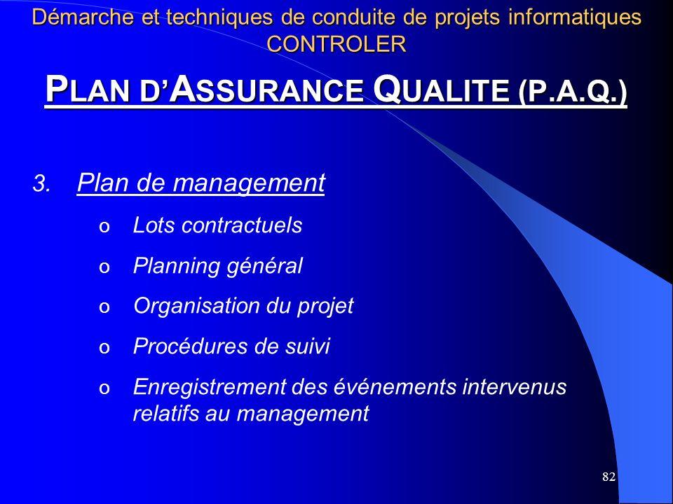 82 P LAN D A SSURANCE Q UALITE (P.A.Q.) 3. Plan de management o Lots contractuels o Planning général o Organisation du projet o Procédures de suivi o