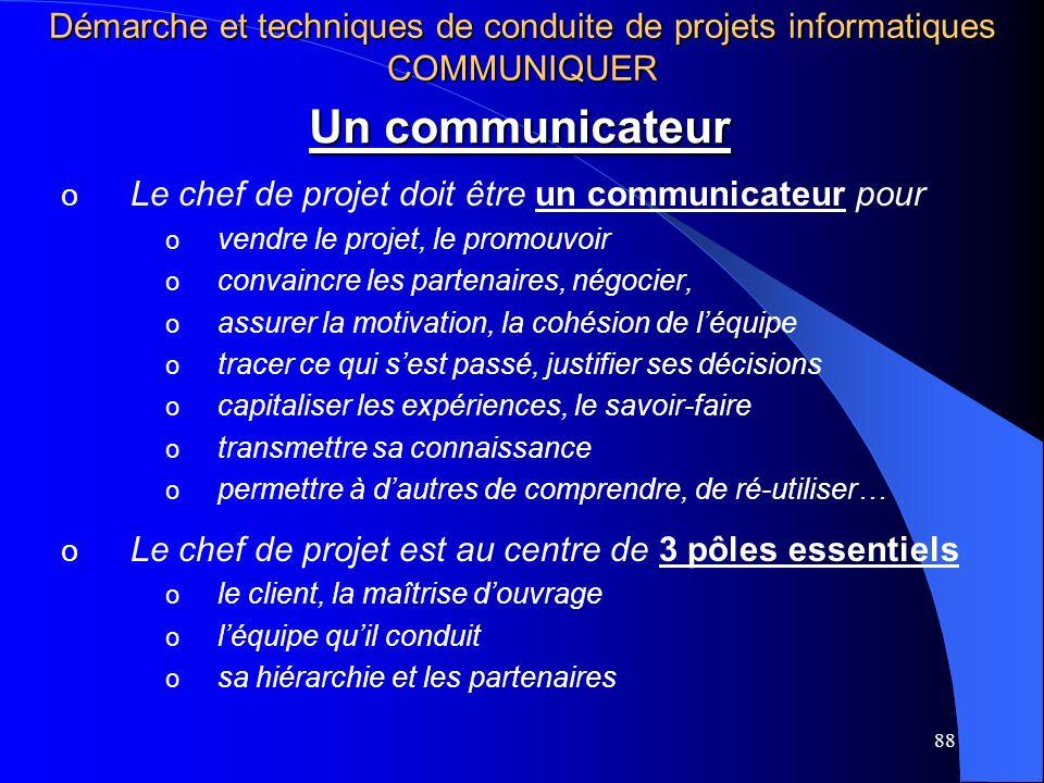 88 Un communicateur o Le chef de projet doit être un communicateur pour o vendre le projet, le promouvoir o convaincre les partenaires, négocier, o assurer la motivation, la cohésion de léquipe o tracer ce qui sest passé, justifier ses décisions o capitaliser les expériences, le savoir-faire o transmettre sa connaissance o permettre à dautres de comprendre, de ré-utiliser… o Le chef de projet est au centre de 3 pôles essentiels o le client, la maîtrise douvrage o léquipe quil conduit o sa hiérarchie et les partenaires Démarche et techniques de conduite de projets informatiques COMMUNIQUER