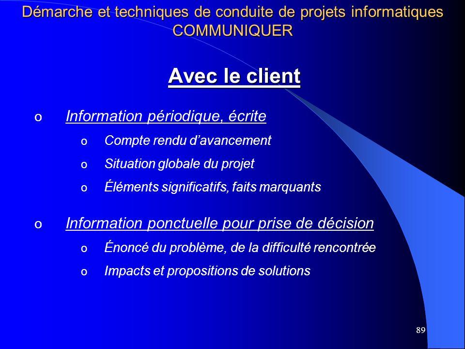 89 Avec le client o Information périodique, écrite o Compte rendu davancement o Situation globale du projet o Éléments significatifs, faits marquants