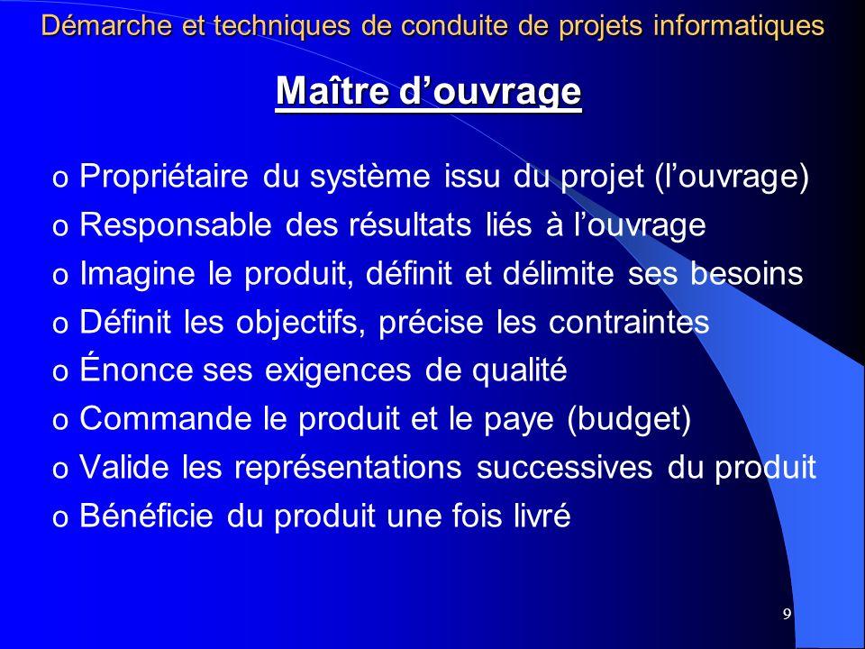 9 o Propriétaire du système issu du projet (louvrage) o Responsable des résultats liés à louvrage o Imagine le produit, définit et délimite ses besoin
