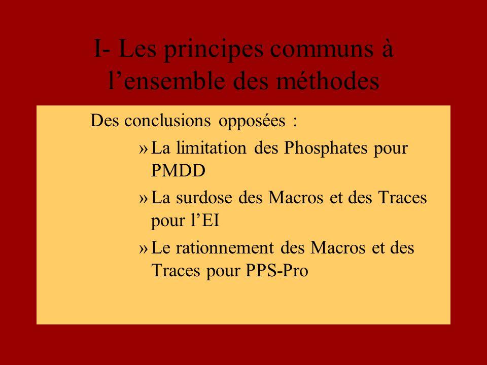 I- Les principes communs à lensemble des méthodes Des conclusions opposées : »La limitation des Phosphates pour PMDD »La surdose des Macros et des Traces pour lEI »Le rationnement des Macros et des Traces pour PPS-Pro