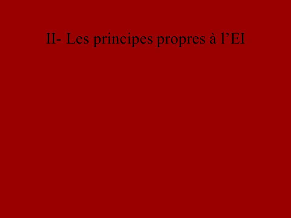 II- Les principes propres à lEI