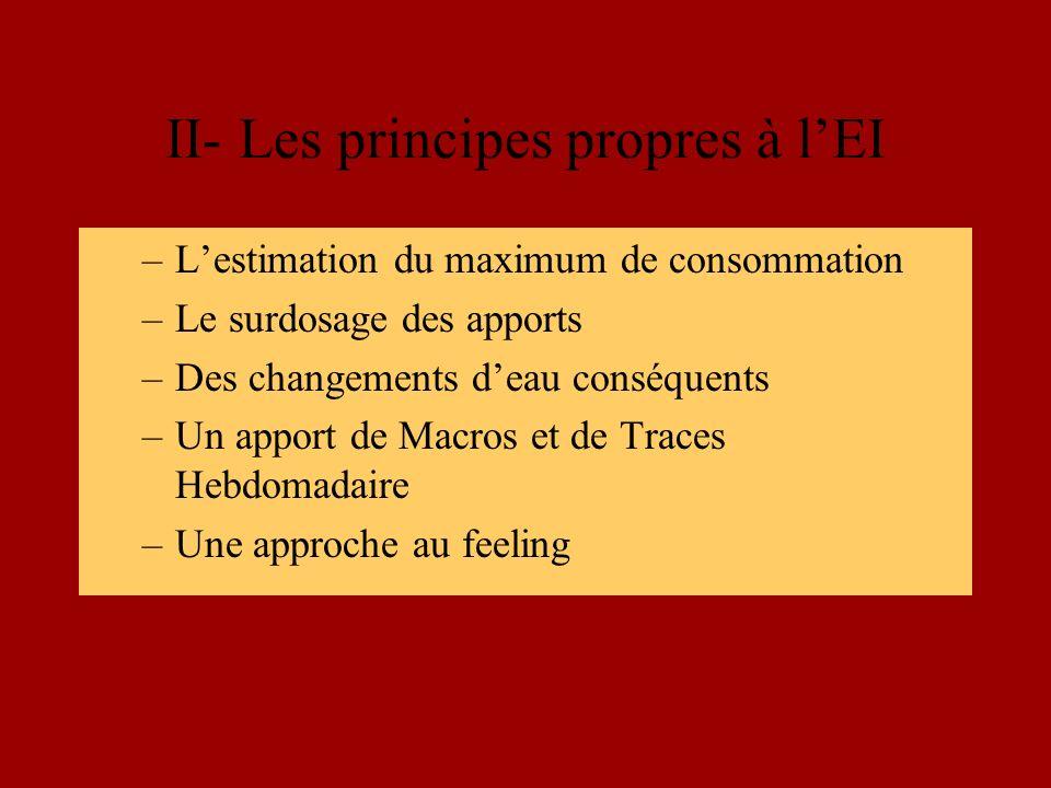 II- Les principes propres à lEI –Lestimation du maximum de consommation –Le surdosage des apports –Des changements deau conséquents –Un apport de Macros et de Traces Hebdomadaire –Une approche au feeling