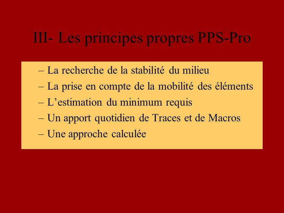 III- Les principes propres PPS-Pro –La recherche de la stabilité du milieu –La prise en compte de la mobilité des éléments –Lestimation du minimum requis –Un apport quotidien de Traces et de Macros –Une approche calculée