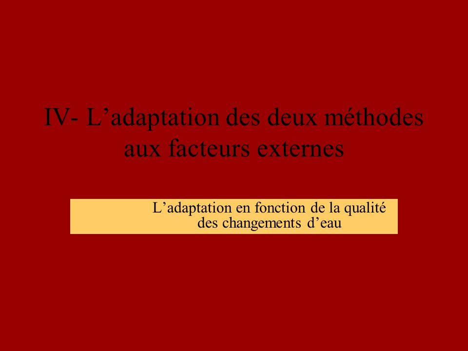 IV- Ladaptation des deux méthodes aux facteurs externes Ladaptation en fonction de la qualité des changements deau