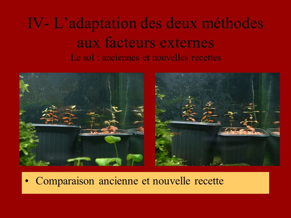 IV- Ladaptation des deux méthodes aux facteurs externes Le sol : anciennes et nouvelles recettes Comparaison ancienne et nouvelle recette