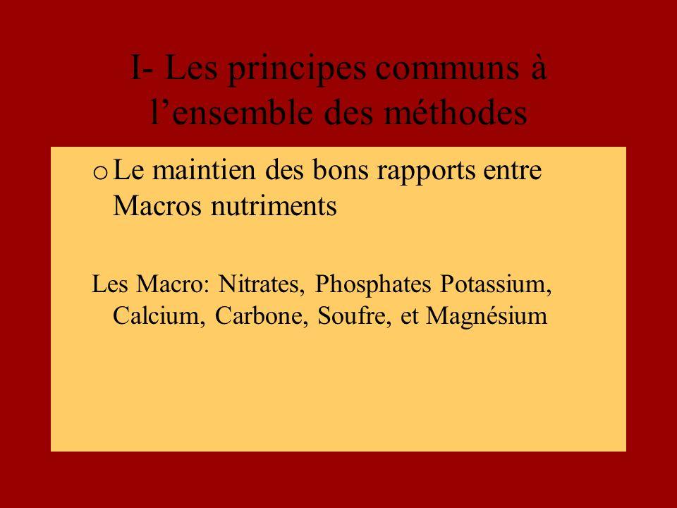 I- Les principes communs à lensemble des méthodes o Le maintien des bons rapports entre Macros nutriments Les Macro: Nitrates, Phosphates Potassium, Calcium, Carbone, Soufre, et Magnésium