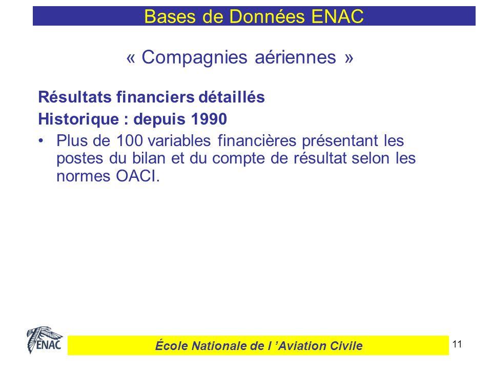11 « Compagnies aériennes » Résultats financiers détaillés Historique : depuis 1990 Plus de 100 variables financières présentant les postes du bilan e