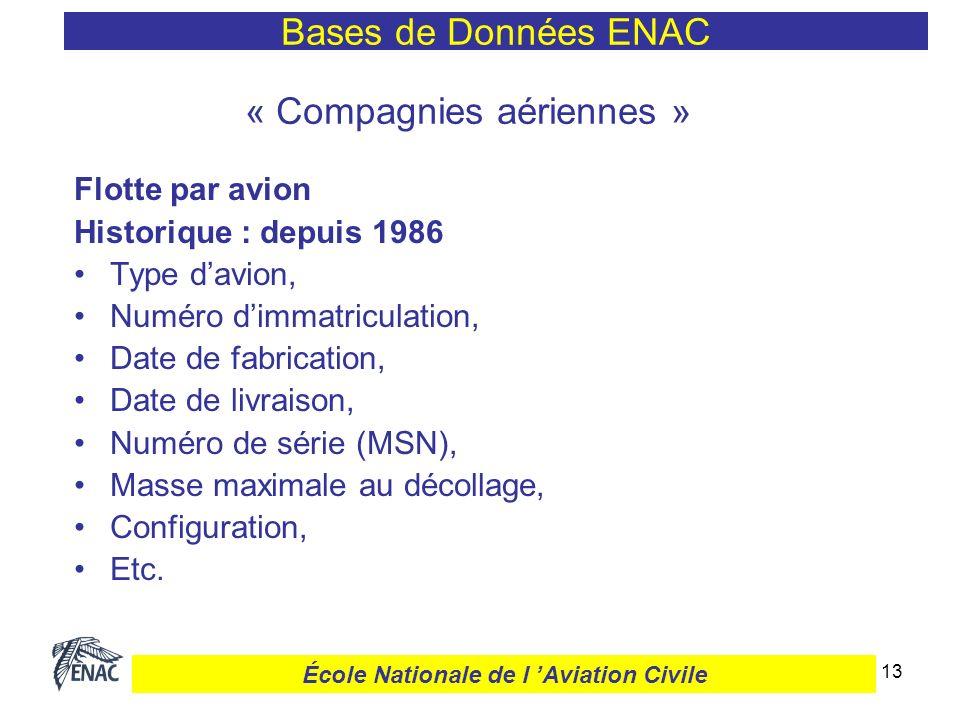13 « Compagnies aériennes » Flotte par avion Historique : depuis 1986 Type davion, Numéro dimmatriculation, Date de fabrication, Date de livraison, Nu