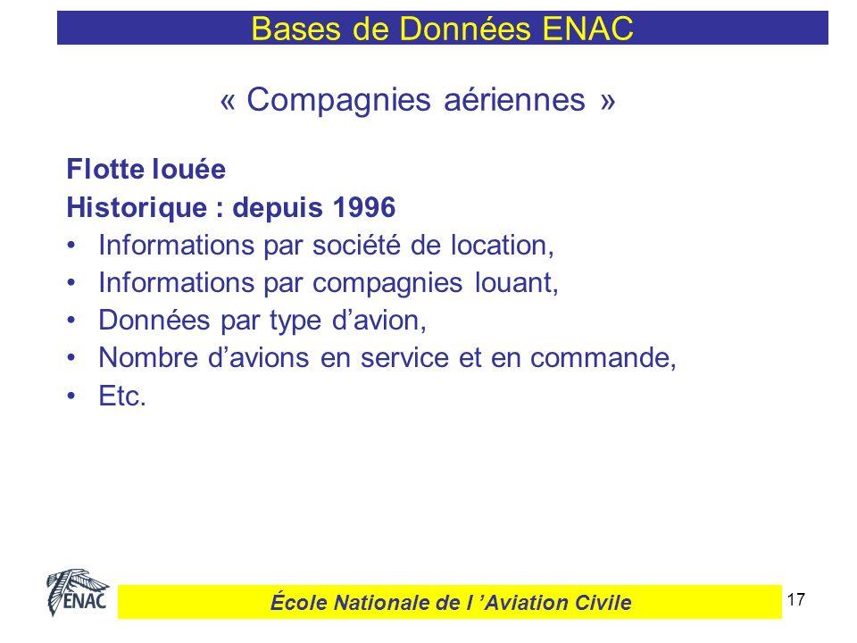 17 « Compagnies aériennes » Flotte louée Historique : depuis 1996 Informations par société de location, Informations par compagnies louant, Données pa