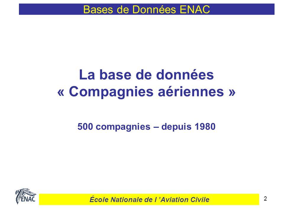 2 Bases de Données ENAC La base de données « Compagnies aériennes » 500 compagnies – depuis 1980 École Nationale de l Aviation Civile